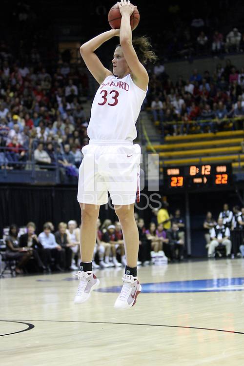 BERKELEY, CA - MARCH 30: Jillian Harmon takes a wide open jumper during Stanford's 84-66 win against the Ohio State Buckeyes on March 28, 2009 at Haas Pavilion in Berkeley, California.