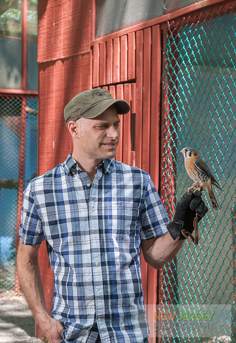 Chris Soucy, holding a Amercian Kestrel, The Raptor Trust, New Jersey