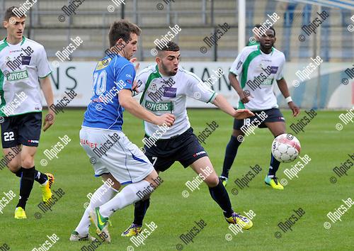 2014-04-20 / voetbal / seizoen 2013-2014 / ASV Geel - Boussu Dour / Hannes Meeus (l) (Geel) in duel met Nassim Saadi (r) (Boussu Dour)