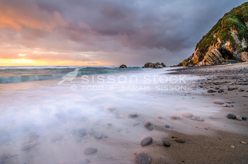 Sunset, Gentle Annie Beach, West Coast, South Island, New Zealand - stock photo, canvas, fine art print