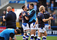 Francois Louw and Matt Banahan have a word during the pre-match warm-up. Amlin Challenge Cup Final, between Bath Rugby and Northampton Saints on May 23, 2014 at the Cardiff Arms Park in Cardiff, Wales. Photo by: Patrick Khachfe / Onside Images