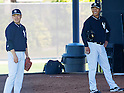 Masahiro Tanaka, Hiroki Kuroda (Yankees),<br /> FEBRUARY 16, 2014 - MLB : Pitcher Hiroki Kuroda (R) and Masahiro Tanaka of the New York Yankees during team's spring training baseball camp at George M. Steinbrenner Field in Tampa, Florida, United States.<br /> (Photo by Thomas Anderson/AFLO) (JAPANESE NEWSPAPER OUT)