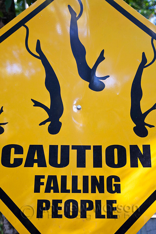 Bungy jumping sign.  Smithfield, Cairns, Queensland, Australia