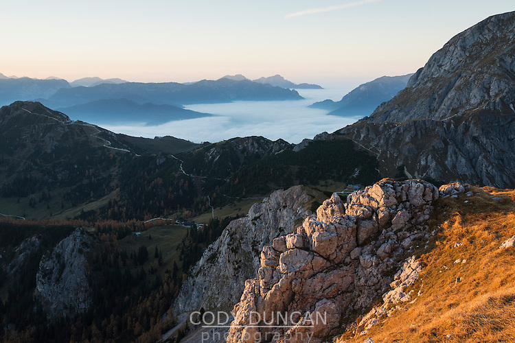 View from slopes of Schneibstein (2275m) towards Jenner and Berchtesgaden national park, Bavaria, Germany