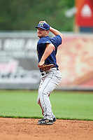 Cedar Rapids Kernels second baseman Pat Kelly (9) throws to first during a game against the West Michigan Whitecaps on June 7, 2015 at Fifth Third Ballpark in Comstock Park, Michigan.  West Michigan defeated Cedar Rapids 6-2.  (Mike Janes/Four Seam Images)