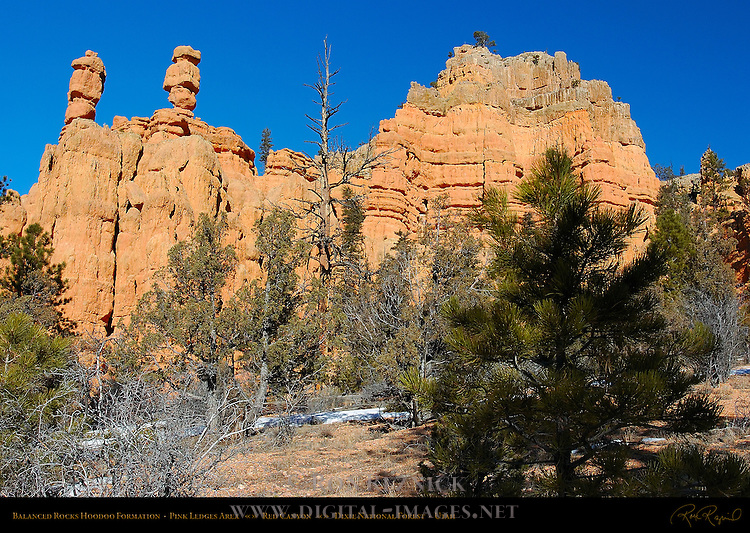Balanced Rocks Hoodoo Formation in Winter, Pink Ledges Area, Red Canyon, Dixie National Forest, Utah