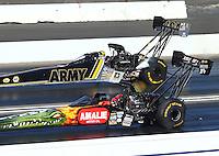 Feb 14, 2016; Pomona, CA, USA; NHRA top fuel driver Terry McMillen (near) defeats Tony Schumacher during the Winternationals at Auto Club Raceway at Pomona. Mandatory Credit: Mark J. Rebilas-USA TODAY Sports