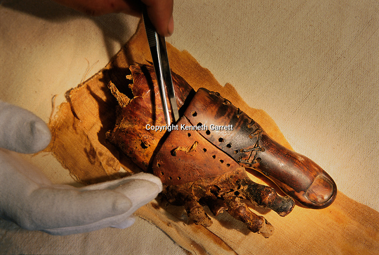 Prosthetic toe attached to the mummy of Tabaketenmut,Third Intermediate Period