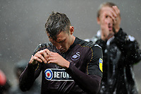 Connor Roberts of Swansea City at full time of the Sky Bet Championship match between Stoke City and Swansea City at the Bet 365 Stadium in Stoke on Trent, England, UK. Tuesday 18 September 2018