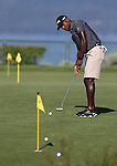 Patrick Peterson, with the Arizona Cardinals, practices on the putting green before an American Century Championship practice round at Edgewood Tahoe Golf Course in Stateline, Nev., on Wednesday, July 15, 2015. <br /> Photo by Cathleen Allison