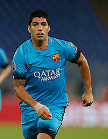 Barcellona's Luis Suarez during the Champions League Group E soccer match against AS Roma   at the Olympic Stadium in Rome September 16, 2015