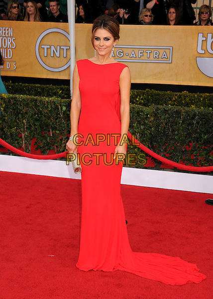Maria Menounos.Arrivals at the 19th Annual Screen Actors Guild Awards at the Shrine Auditorium in Los Angeles, California, USA..27th January 2013.SAG SAGs full length red dress  clutch bag   train  .CAP/ADM/BP.©Byron Purvis/AdMedia/Capital Pictures