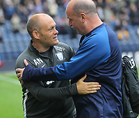 Preston North End's Manager Alex Neil greets Wigan Athletic's Manager Paul Cook<br /> <br /> Photographer Mick Walker/CameraSport<br /> <br /> The EFL Sky Bet Championship - Preston North End v Wigan Athletic - Saturday 10th August 2019 - Deepdale Stadium - Preston<br /> <br /> World Copyright © 2019 CameraSport. All rights reserved. 43 Linden Ave. Countesthorpe. Leicester. England. LE8 5PG - Tel: +44 (0) 116 277 4147 - admin@camerasport.com - www.camerasport.com
