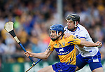 Shane O Donnell of Clare  in action against Philip Mahony of Waterford during their Munster  championship round robin game at Cusack Park Photograph by John Kelly.