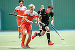 Mannheim, Germany, June 10: During the U16 Boys fieldhockey match between The Netherlands and Germany at the Whitsun Tournament on June 10, 2019 at Am Neckarkanal in Mannheim, Germany. (Copyright Dirk Markgraf) ***