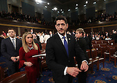 Speaker of the House Paul Ryan arrives for US President Donald J. Trump's first address to a joint session of Congress from the floor of the House of Representatives in Washington, DC, USA, 28 February 2017.  Traditionally the first address to a joint session of Congress by a newly-elected president is not referred to as a State of the Union.<br /> Credit: Jim LoScalzo / Pool via CNP