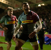 Harlequins' Nathan Earle celebrates scoring his side's second try<br /> <br /> Photographer Bob Bradford/CameraSport<br /> <br /> Gallagher Premiership Round 9 - Harlequins v Exeter Chiefs - Friday 30th November 2018 - Twickenham Stoop - London<br /> <br /> World Copyright &copy; 2018 CameraSport. All rights reserved. 43 Linden Ave. Countesthorpe. Leicester. England. LE8 5PG - Tel: +44 (0) 116 277 4147 - admin@camerasport.com - www.camerasport.com