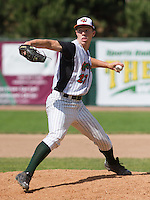 GREEN BAY - June 2015: Green Bay Bullfrogs pitcher Jake Stolley (27) during a Northwoods League game against the Kenosha Kingfish on June 21st, 2015 at Joannes Park in Green Bay, Wisconsin. Green Bay defeated Kenosha 10-7. (Brad Krause/Krause Sports Photography)