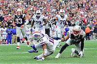 Sunday, October 2, 2016: New England Patriots cornerback Logan Ryan (26) holds onto Buffalo Bills wide receiver Robert Woods (10) during the NFL game between the Buffalo Bills and the New England Patriots held at Gillette Stadium in Foxborough Massachusetts. Buffalo defeats New England 16-0. Eric Canha/Cal Sport Media