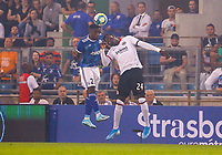 Lionel Carole (Racing Club de Strasbourg Alsace) gegen Danny da Costa (Eintracht Frankfurt) - 22.08.2019: Racing Straßburg vs. Eintracht Frankfurt, UEFA Europa League, Qualifikation, Commerzbank Arena<br /> DISCLAIMER: DFL regulations prohibit any use of photographs as image sequences and/or quasi-video.