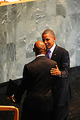 United States President Barack Obama greets members of the United Nations Secretary General's Council as he speaks to the UN General Assembly in New York, New York, Wednesday, September 21, 2011at UN Headquarters..Credit: Aaron Showalter / Pool via CNP.
