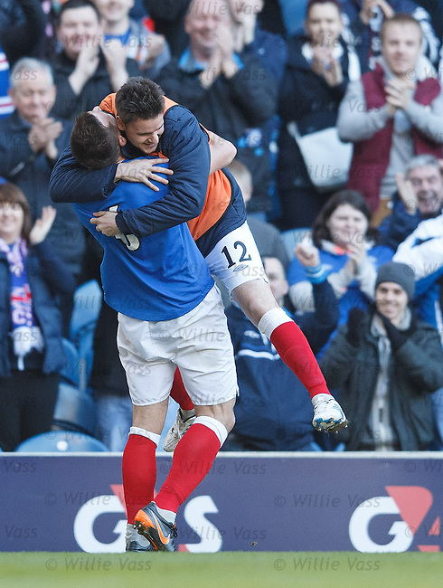 Lee McCulloch celebrates his goal with sub Sebastien Faure