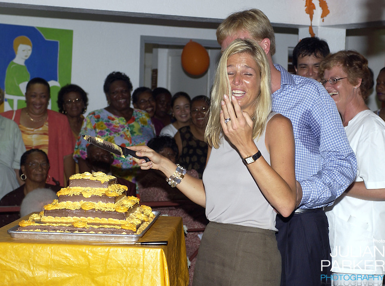 Crown Prince Willem Alexander, and Crown Princess Maxima of Holland visit The Dutch Antilles..Visit the Island of Saba..After arriving at Saba Airport, the couple visited The Sacred Hearts Church & School, visited a house for the elderly, and walked on The Sandy Cruz Trail on Zions Hill.