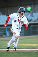 Brendan Rodgers (1) of the Lancaster JetHawks runs to first base during a game against the Modesto Nuts at The Hanger on May 11, 2017 in Lancaster, California. Lancaster defeated Modesto, 6-0. (Larry Goren/Four Seam Images)
