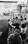 October 1964: Children playing in kindergarten playground during the Showa period. (Photo by Katsuro Okazawa/AFLO)