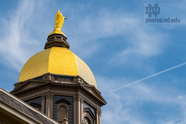 May 17, 2018; The Mary statue atop the Golden Dome.  (Photo by Barbara Johnston/University of Notre Dame)