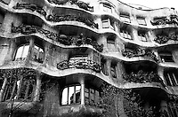 View of the exterior of La Pedrera building by Gaudi, Barcelona, Spain.