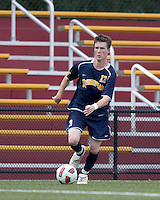 Quinnipiac University midfielder Tim Quigley (13) brings the ball forward. Boston College defeated Quinnipiac, 5-0, at Newton Soccer Field, September 1, 2011.