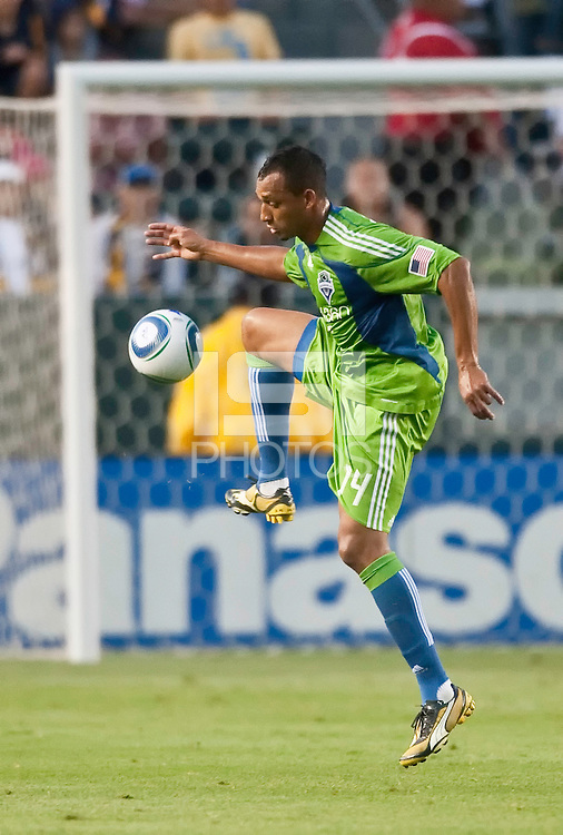 Seattle Sounders defender Tyrone Marshall (14) receives a pass during the first half of the game between LA Galaxy and the Seattle Sounders at the Home Depot Center in Carson, CA, on July 4, 2010. LA Galaxy 3, Seattle Sounders 1.
