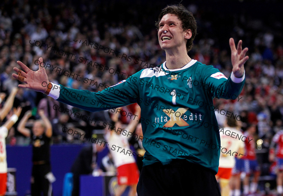 Niklas Landin Jacobsen reacts during men`s EHF EURO 2012 handball championship final game between Serbia and Denmark in Belgrade, Serbia, Sunday, January 29, 2011.  (photo: Pedja Milosavljevic / thepedja@gmail.com / +381641260959)