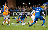 Geovanni falls on the play. The Houston Dynamo defeated the San Jose Earthquakes 1-0 at Buck Shaw Stadium in Santa Clara, California on October 16th, 2010.