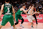 22nd March 2018, Wizink Centre, Madrid, Spain; Turkish Airlines Euroleague Basketball, Real Madrid versus Zalgiris Kaunas; Jaycee Carroll (Real Madrid Baloncesto) brings the ball foward around Beno Udrih (Zalgiris Kaunas)