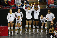 15 December 2007: Stanford Cardinal Erin Waller (12), Jessica Fishburn (11), Cassidy Lichtman (8), Stephanie Browne (15), Janet Okogbaa (2), Joanna Evans (3), athletic trainer Eitan Gelber, strength & conditioning coach Juan Pablo Reggiardo, and director of volleyball operations Cobey Shoji during Stanford's 25-30, 26-30, 30-23, 30-19, 8-15 loss against the Penn State Nittany Lions in the 2007 NCAA Division I Women's Volleyball Final Four championship match at ARCO Arena in Sacramento, CA.
