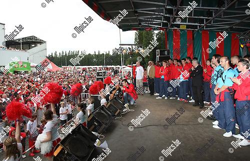 2008-08-03 / Voetbal / Fandag Antwerp / Alle spelers werden op het podium geroepen, en voorgesteld aan de supporters..Foto: Maarten Straetemans (SMB)
