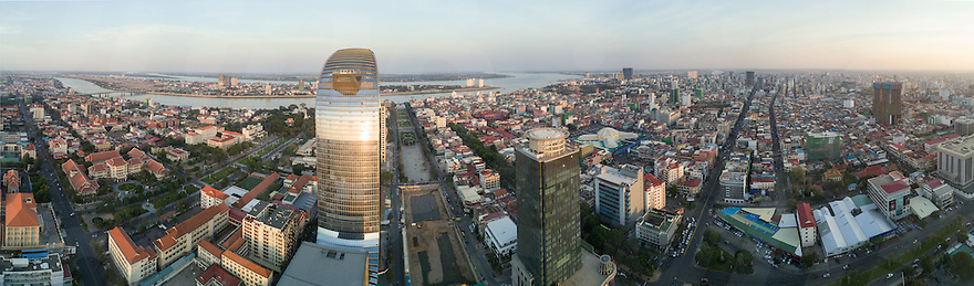 January 27, 2017 - Phnom Penh (Cambodia). Aerial panoramic view of Phnom Penh from Beoung Kak. © Thomas Cristofoletti / Ruom