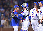 Tsuyoshi Wada, John Baker, Hector Rondon (Cubs), JULY 28, 2014 - MLB : Chicago Cubs starting pitcher Tsuyoshi Wada (L) is congratulated by teammate John Baker (12) and Hector Rondon (R) after winning the Major League Baseball game against the Colorado Rockies at Wrigley Field in Chicago, USA. The Cubs defeated the Rockies. Tsuyoshi Wada's first Major League win.<br /> (Photo by AFLO)