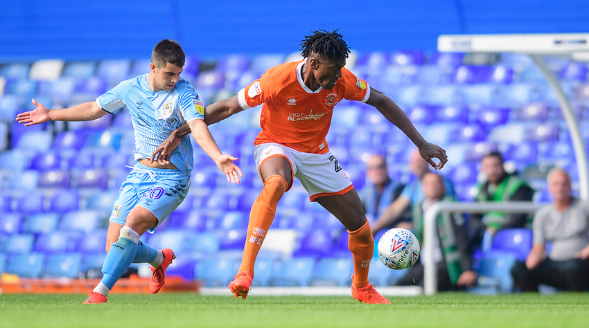 Blackpool's Armand Gnanduillet vies for possession with Coventry City's Liam Walsh<br /> <br /> Photographer Chris Vaughan/CameraSport<br /> <br /> The EFL Sky Bet League One - Coventry City v Blackpool - Saturday 7th September 2019 - St Andrew's - Birmingham<br /> <br /> World Copyright © 2019 CameraSport. All rights reserved. 43 Linden Ave. Countesthorpe. Leicester. England. LE8 5PG - Tel: +44 (0) 116 277 4147 - admin@camerasport.com - www.camerasport.com