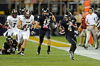 25 October 2011:  FIU wide receiver T.Y. Hilton (4) breaks into the open in the second quarter as the FIU Golden Panthers defeated the Troy University Trojans, 23-20 in overtime, at FIU Stadium in Miami, Florida.