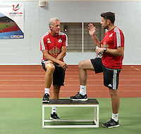 Pictured: Alan Curtis (L) Tuesday 30 June 2015<br /> Re: Pre-season assessment of Swansea City FC players on the grounds of Swansea University, south Wales, UK