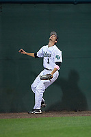 Stetson Hatters left fielder Jacob Koos (1) watches at the wall as a home run off the bat of Dan Swain (not shown) leaves the stadium during a game against the Siena Saints on February 23, 2016 at Melching Field at Conrad Park in DeLand, Florida.  Stetson defeated Siena 5-3.  (Mike Janes/Four Seam Images)