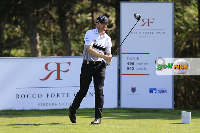 Michael Hoey (NIR) on the 9th during the 1st round the The Rocco Forte Open, Verdura Golf &amp; Spa Resort, Agrigento, Sicily, Italy. 18/05/2017.<br /> Picture: Golffile | Fran Caffrey<br /> <br /> <br /> All photo usage must carry mandatory copyright credit (&copy; Golffile | Fran Caffrey)