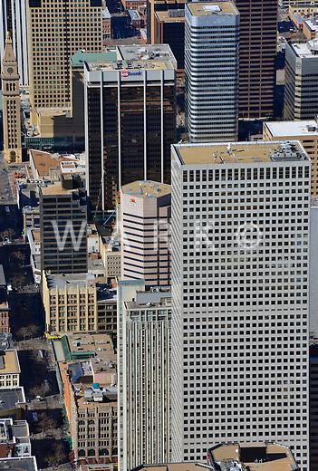 Skycrapers downtown Denver, Colorado. Feb 2013