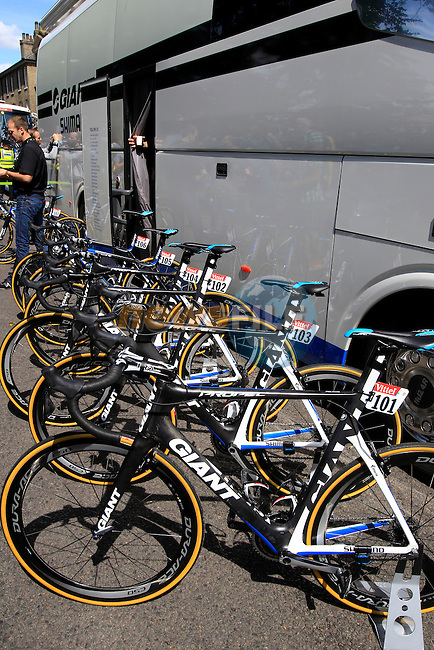 Team Giant-Shimano team Giant bikes outside the team bus at sign on in Cambridge before the start of Stage 3 of the 2014 Tour de France running 155km from Cambridge to London. 7th July 2014.<br /> Picture: Eoin Clarke www.newsfile.ie