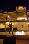 "Statue of Ernie Banks, Chicago ""Cub"", Wrigley Field, Home of the Chicago Cubs Baseball Team, Chicago, Illinois, USA"