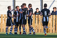 Players from Atherton Collieries celebrate after Luke Giverin gave his side the lead <br /> <br /> Photographer Alex Dodd/CameraSport<br /> <br /> Football Pre-Season Friendly - Atherton Collieries v Bolton Wanderers - Tuesday 10th July 2018 - Alder House - Atherton<br /> <br /> World Copyright &copy; 2018 CameraSport. All rights reserved. 43 Linden Ave. Countesthorpe. Leicester. England. LE8 5PG - Tel: +44 (0) 116 277 4147 - admin@camerasport.com - www.camerasport.com
