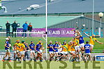 Kieran O'Regan and Tom Murnane Kilmoyley in action against Brian McAuliffe Lixnaw go up for a high ball in the final moments of the Kerry County Senior Hurling championship Final at Austin Stack Park on Sunday.
